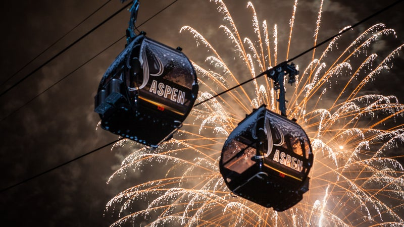ajax aspen Aspen Mountain colorado Content Type Fireworks gondola gondola plaza night no one no people Outdoors snow Thomas O'Brien Winter