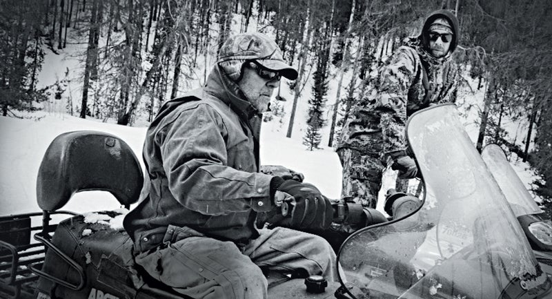 Guides T.J. and Tom Carter on a wolf hunt in the Boise National Forest.