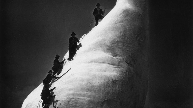 Mountaineers Climbers mountain climber Seracs Glacier features Collotypes