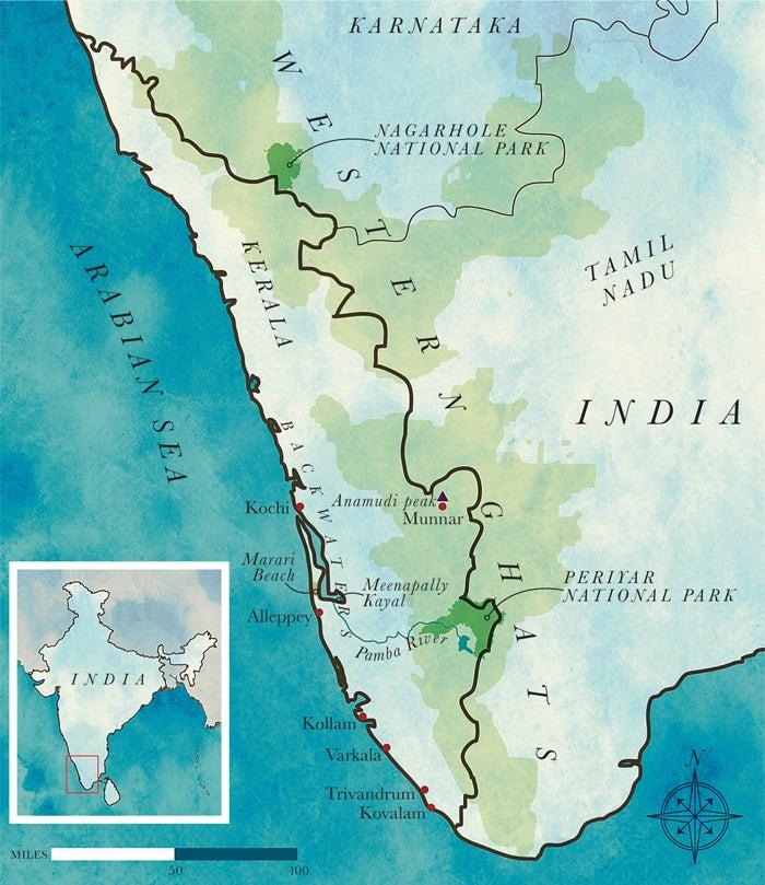 india kerala map