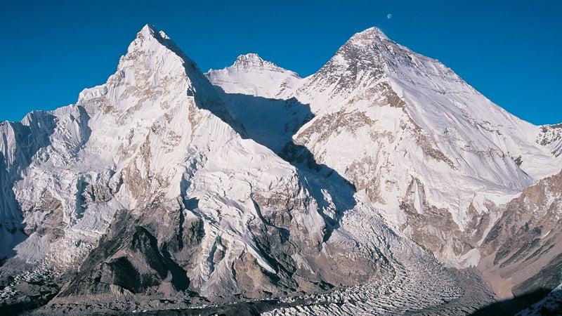 The peaks of Everest Lhotse and Nuptse.