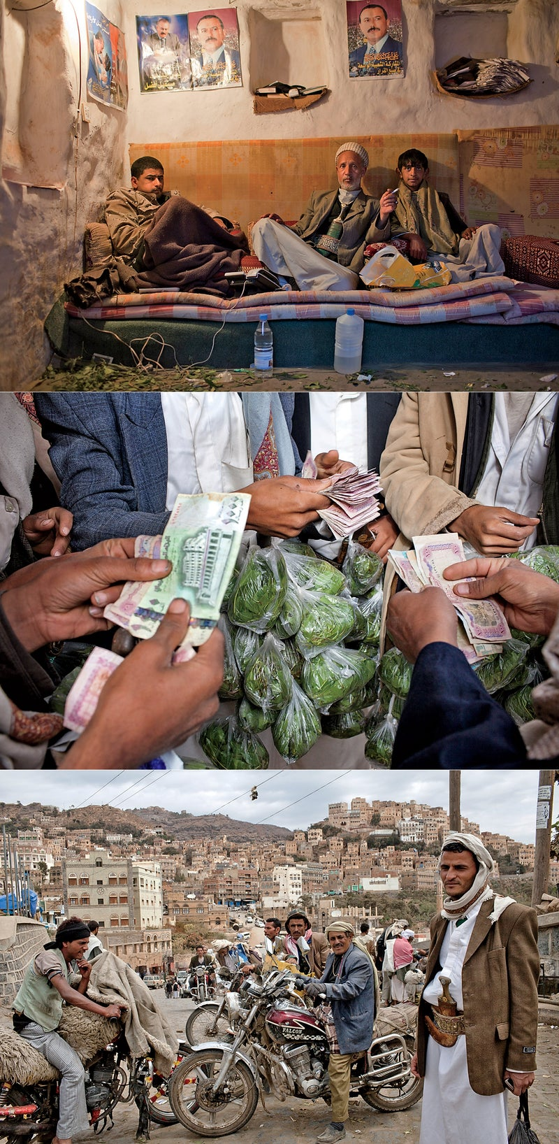 From top: A police checkpoint the village of Kawkaban; the daily khat transaction; makeshift motorcycle taxis for hire in Al Mahweet. Click to enlarge.