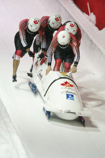 Canada's bobsled team during the 2006 Olympics