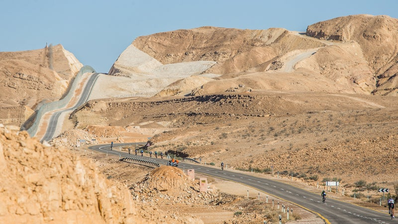 The scenic bike course goes along the Egyption border at the 2015 Israman Triathlon.