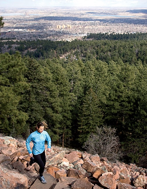 woman female outdoors runner trail runner active athletic beauty exercise sport recreation color image Colorado Boulder North America United States Caucasian 30 years old young adult healthy fit running Chautauqua Park Elinor Fish above determination concentration profile full body open space recreation escapism strength solitude vertical daytime one one person only
