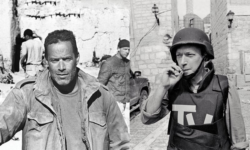Left: Junger embedded with U.S. forces in Afghanistan, 2005. Right: Anderson traveling with Israeli commandos on the West Bank, 2002. Click to enlarge.