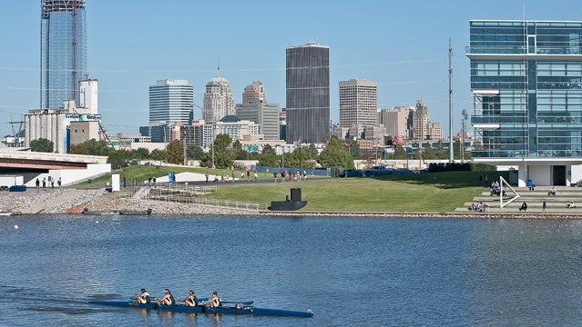 river Oklahoma River rowing downtown buildings architecture skyscraper cityscape OKC Oklahoma City day horizontal water water sport Finish Line Tower scenic photography skyline outside magazine best towns 2013