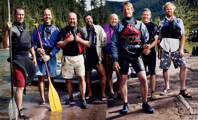 The River Rats at the Flathead Take-Out, June 11, 2006. From left: Adam Duerk, Doug Pollock, Nate Cross, Tiff Barton, Bruce Allen, Damon Yerkes, Ken Miller, and Mark Sundeen. Click to enlarge.