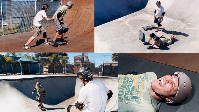 Skateboarding in four steps: 1. Terror 2. Embarrassment 3. Terror 4. Embarrassment.