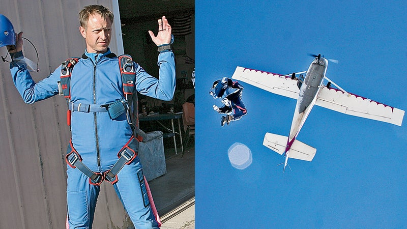 Skydiving in four steps: 1. Embarrassment 2. Terror 3. Elation 4. Relief.