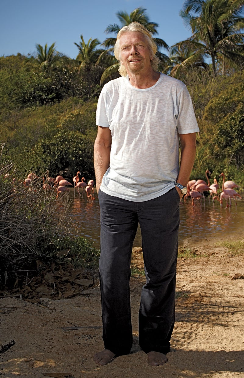 Branson on Necker Island, his private retreat in the British Virgin Islands. Click to enlarge.