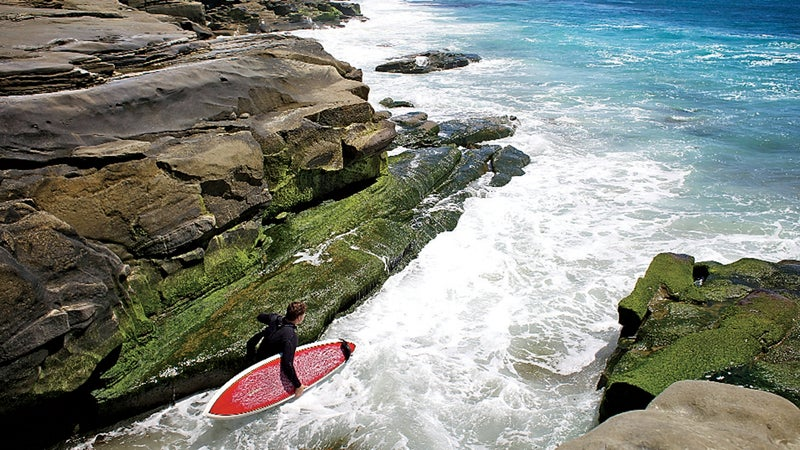 40s 45-49 Years beach California Caucasian Appearance color image day Holding La Jolla Leisure Activity Mature Adult Mature Men One Person OutdoorCollection outdoors photography Recreational Pursuit rock San Diego Sea Sport Surfboard SURFING Three Quarter Length USA water Water Sport Windnsea Beach