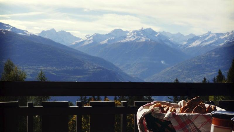 OutsideOnline inn hikes Swiss Alps Pennine breakfast view