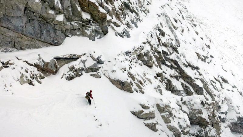 Lichter tries to ski down Forrester Pass.