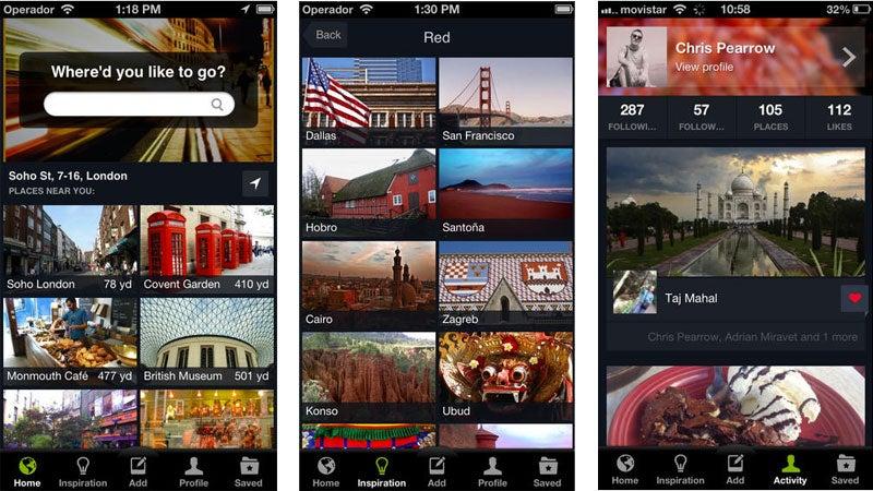 Minube travel app on iOS