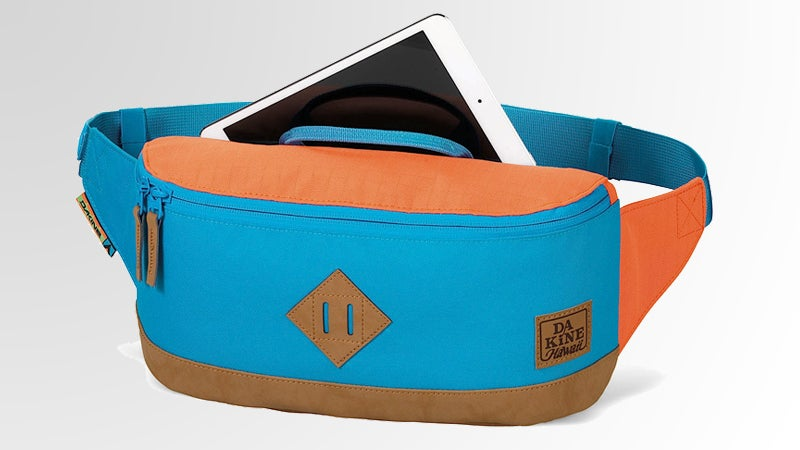Dakine Crescent Hip Pack fanny pack waist pack hip pack hawaiian print suede and nylon two-tone ripstop mesh pockets matthew mcconaughey outside outside magazine outside online joe jackson gear guy gear shed gear test