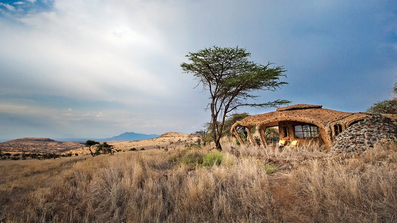 The Earthpod rooms at Lewa House blend into the Kenyan landscape.