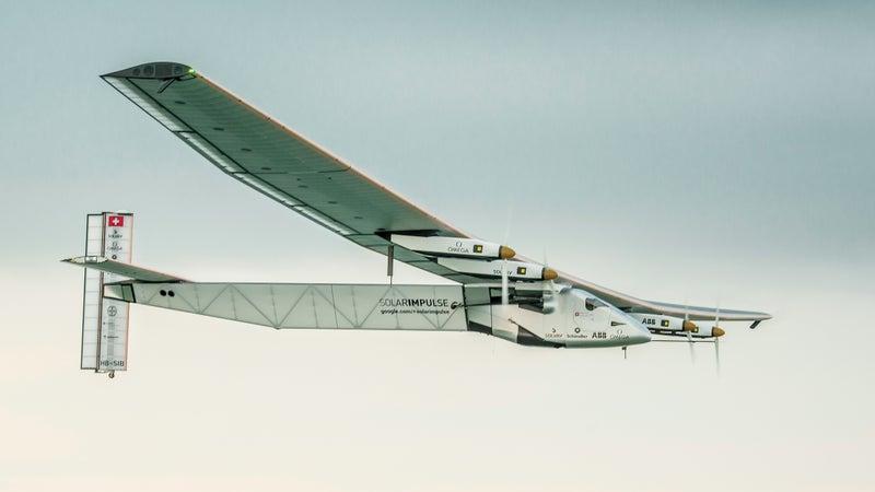 The Solar Impulse 2 in flight.